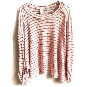 Free People We the Free Pink Hacci Striped Top S